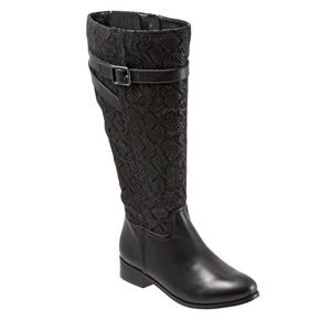 Lyra Wide Calf Black Snake